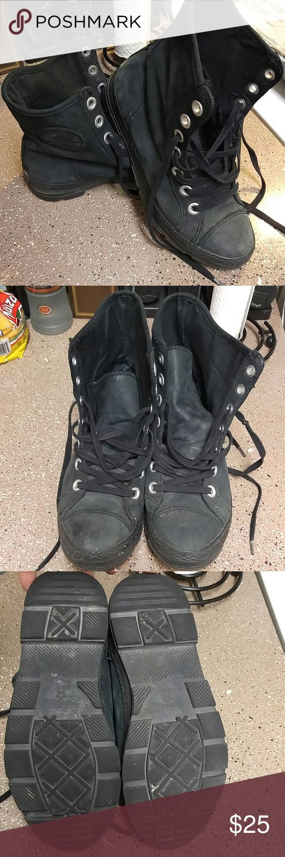 Black on black converse boots Worn more than a few times had for a year good condition faded as u can see.no rips Converse Shoes Ankle Boots & Booties