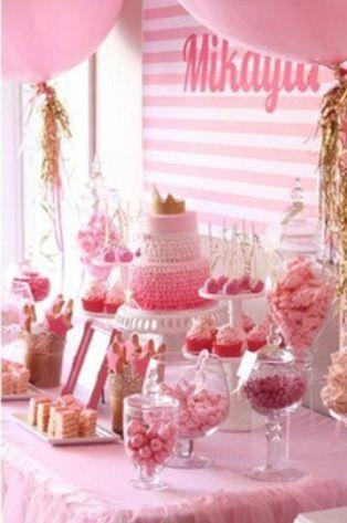 Cute dessert table.   princess dessert buffet