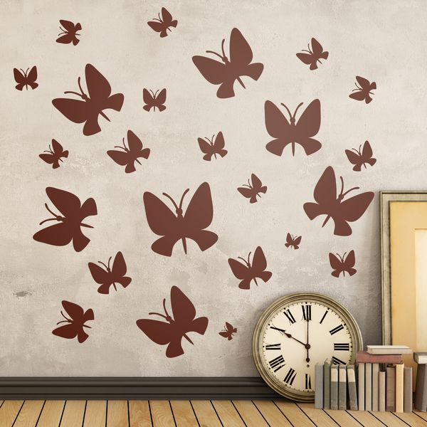 Adesivi murali: Kit 24 farfalle - Adesivi murali bambini a kit. #adesivimurali #decorazione #modelli #mosaico #farfalle #StickersMurali