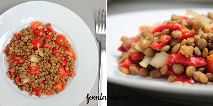 Recept na jednoduchý bezmasý čočkový salát se zeleninou