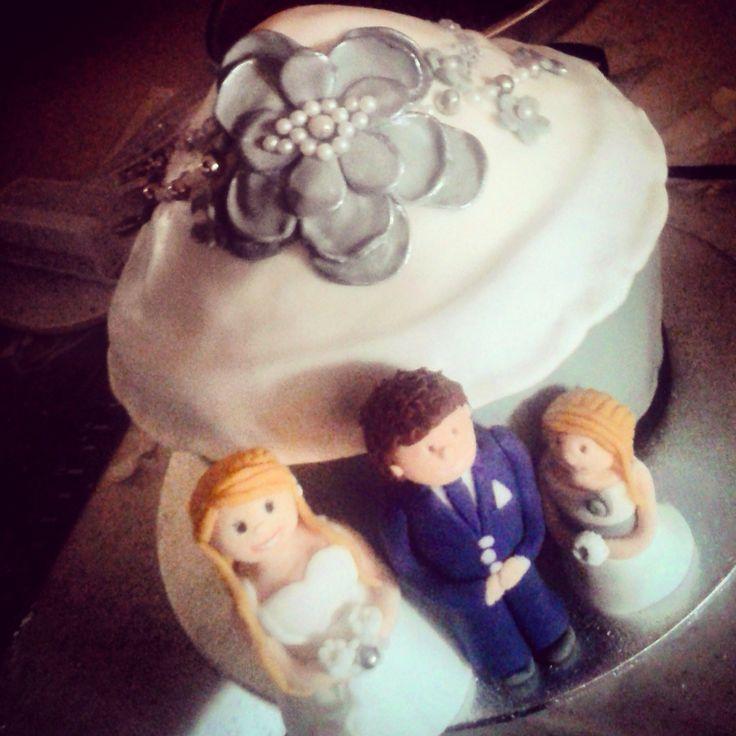 Giant #wedding cupcake! Yummy carrot & pecan cake with handmade fondant figures
