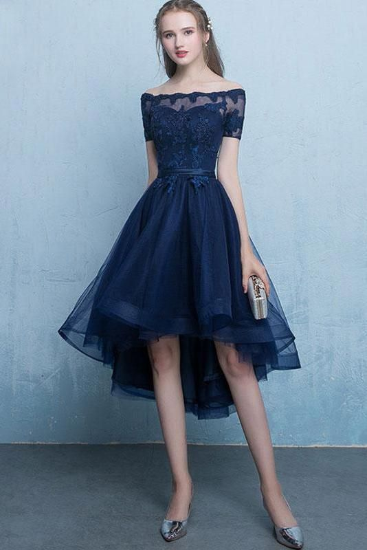37c98ed282e Dark Blue Lace Tulle Short Sleeve High Low Round Neck A-Line Short ...