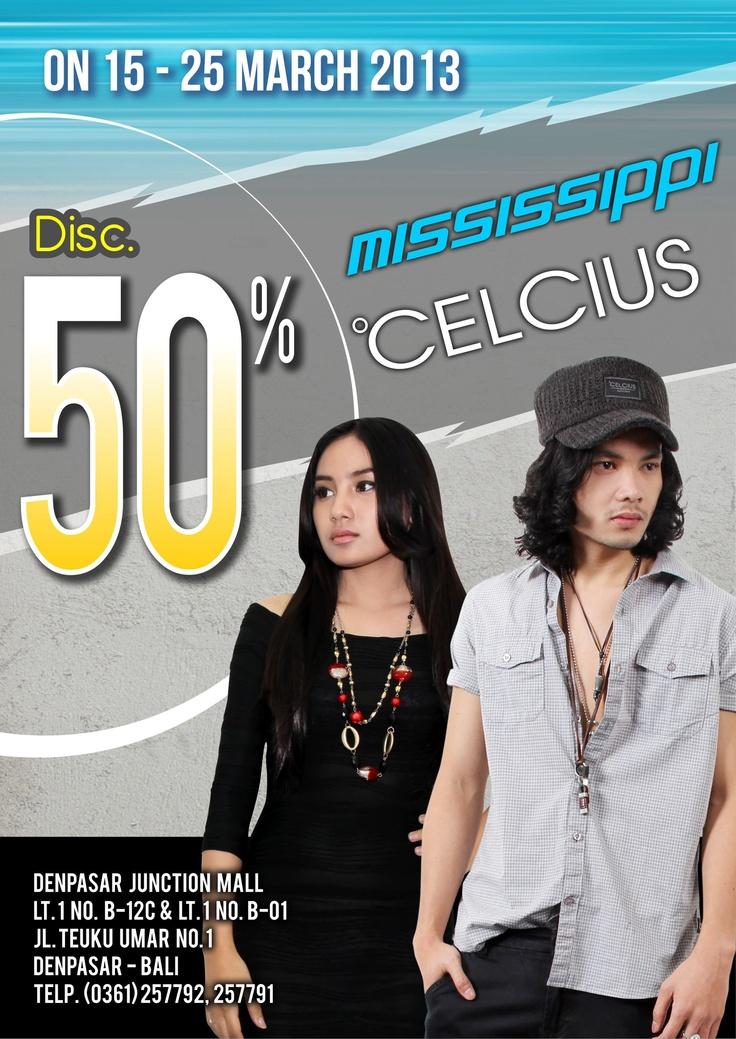 Discount....Discount....Dscount...!!!!    Kami berikan discount 50% Buat kamu guys yang tinggal di Denpasar Bali.     Dapatkan sekarang juga koleksi terbaikmu, hanya di Celcius @Denpasar Junction Mall.     ------- Discount berlaku 15 -25 Maret 2013 -----------