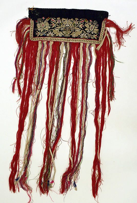 tattered red threads, Hungarian apron, 1815.