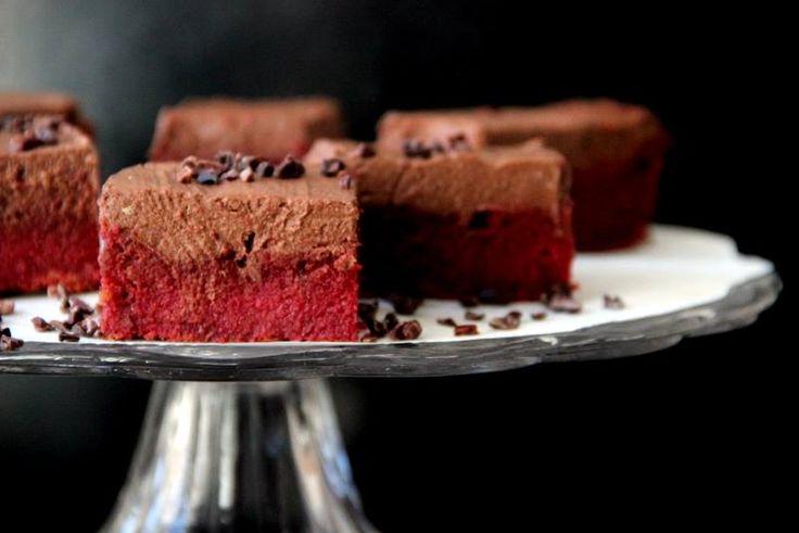 Růžové řezy s červenou řepou a kakaovým krémem