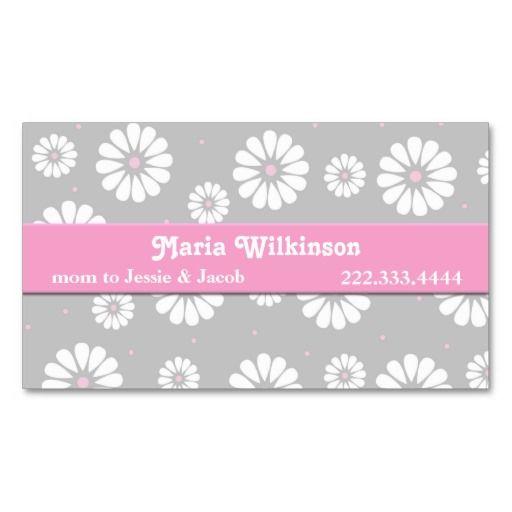 Tarjeta de la mamá de la margarita rosada, gris, y plantillas de tarjeta de negocio