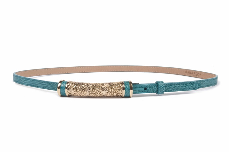 Skinny Belt with Cast Stingray Skin Inset Tube Buckle, Teal Lizard with Gold Hardware