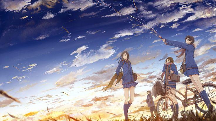 #original characters, #anime girls, #sky, #sunset, #clouds, #school uniform, #an…