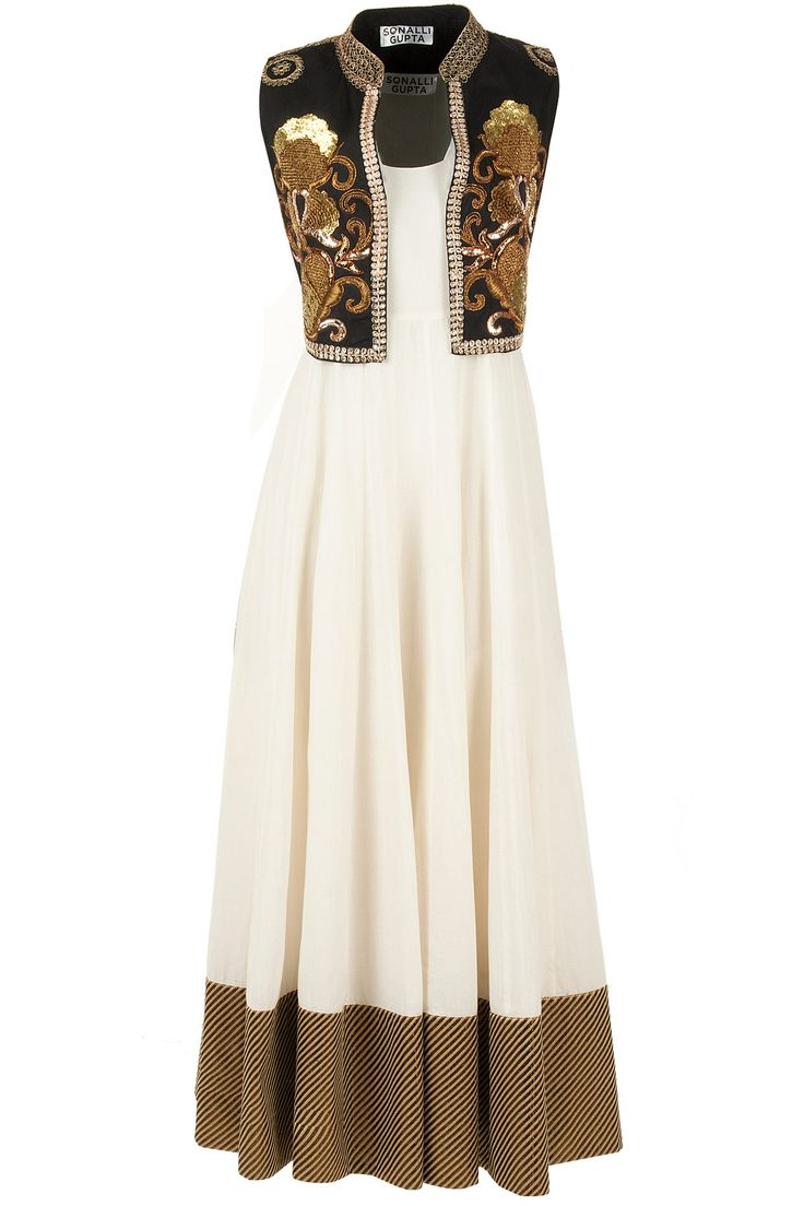 Ivory anarkali set with black sequin jacket available only at Pernia's Pop-Up Shop.