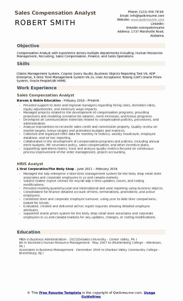 Awesome Pensation Analyst Resume Samples