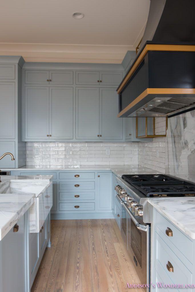Our vintage modern kitchen reveal subway backsplash for Modern kitchen vent