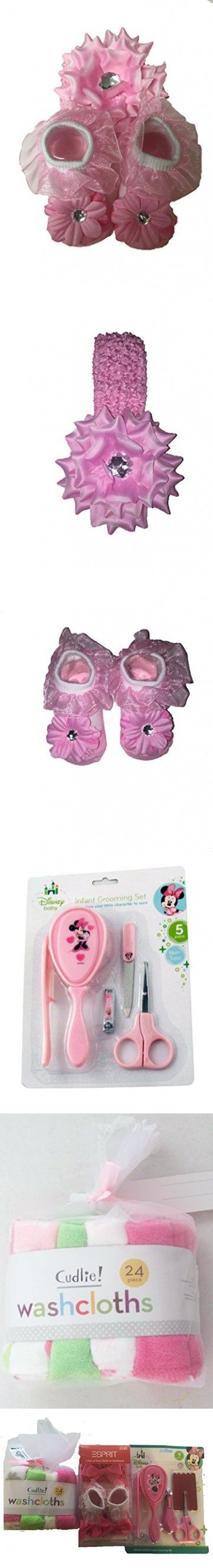 Baby Girl Bath Gift Set With Botties Socks And Flower Bow, Washcloths And Minnie Mouse Grooming Kit