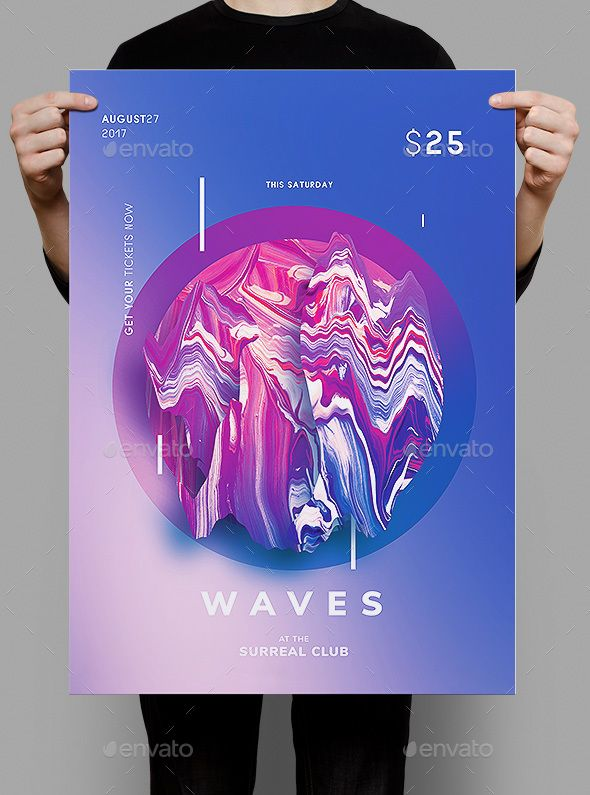 Waves Flyer / Poster Template - Clubs & Parties Events