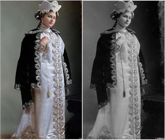Бал-маскарад в Зимнем дворце. 1903 год. Раскрашенные фотографии Александра Александровна Танеева в вечернем платье