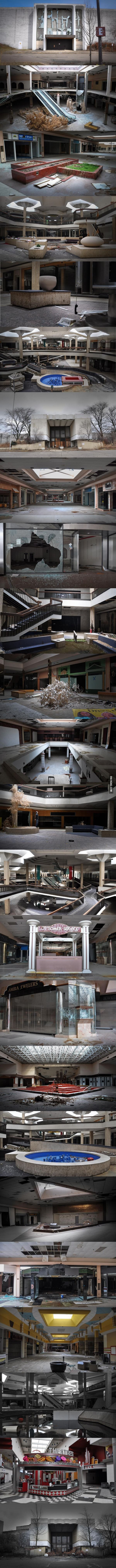 The abandoned Rolling Acres Mall in Ohio. At the time of its opening, it was the 'world's largest shopping center'.