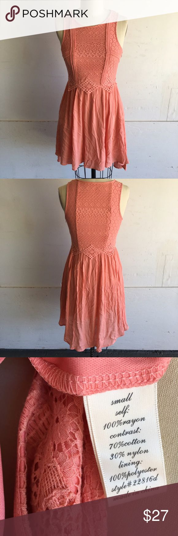 Pinky Melon Sleeveless Dress NWT New/Never Used Wrinkles can be steamed out, stored folded. Lace over bodice and lined throughout dress. **Bundle with jewelry in my closet for a greater discount! Francesca's Collections Dresses Wedding