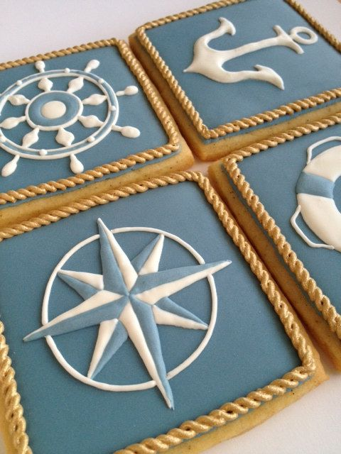 Nautical Cookies - Set of 8 Orange Vanilla Spice Cookies. $76.00, via Etsy.