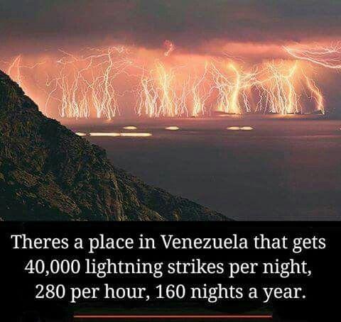 Place in Venezuela gets 40K lighting strikes a fay