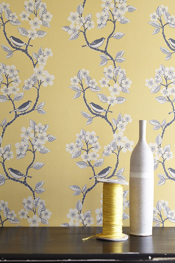 Song Birds Wallpaper in Buttercup, Clay & Charcoal