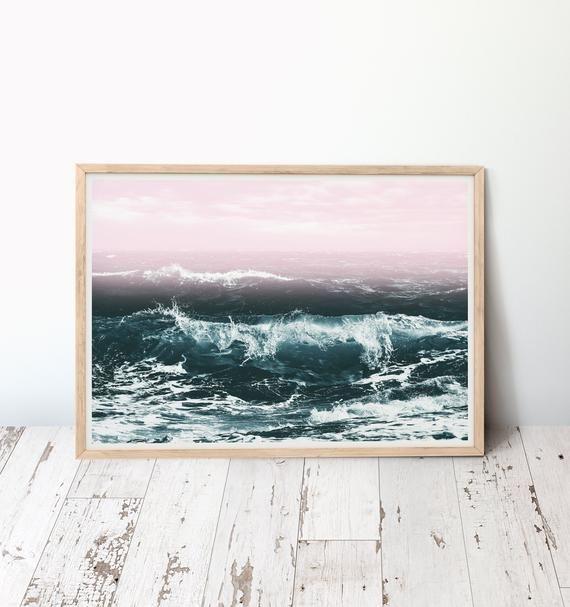 Pink Ocean Print Dark Teal Sea Printable Wall Art Waves And Etsy Ocean Print Printable Wall Art Pink Ocean