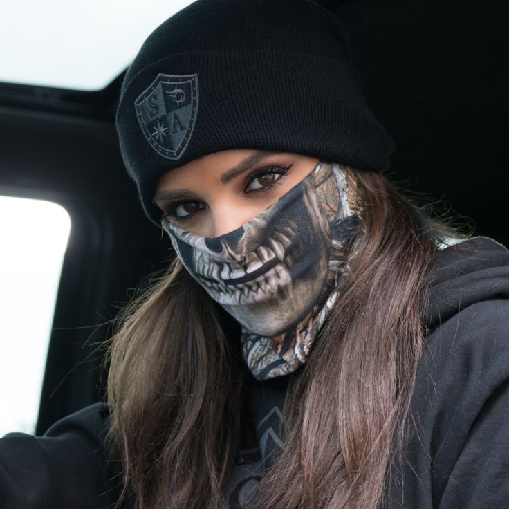 Multi-Use Face Shield in Forest Camo Skull