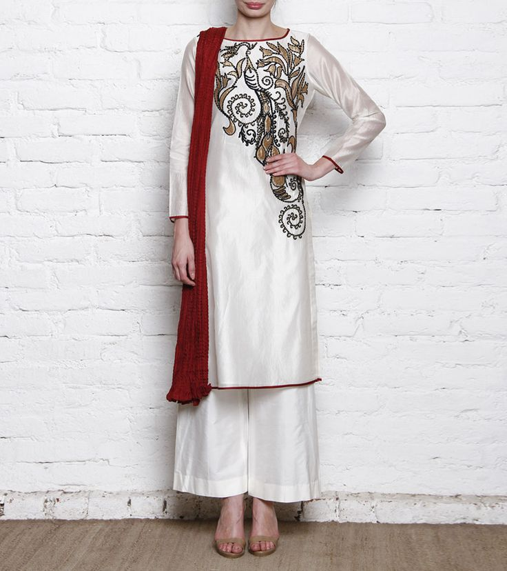 TAIKA BY POONAM BHAGAT - Ivory, Golden & Red Dori Embroidered Chanderi Tunic With Palazzos Click on the photo to shop this outfit! :)