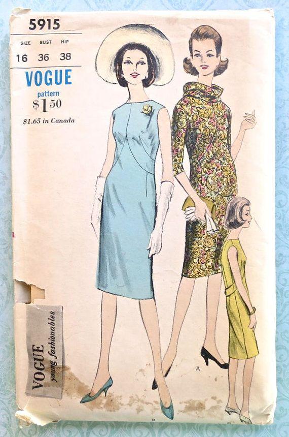 Vogue 5915  Vintage 1960s Womens Sheath Dress Pattern by Fragolina, $18.00