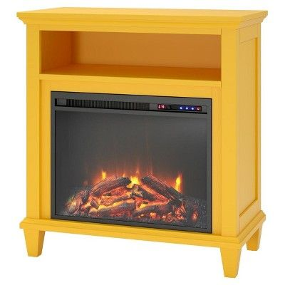 Ellington Accent Media Fireplace - Navy - Dorel Living, Yellow