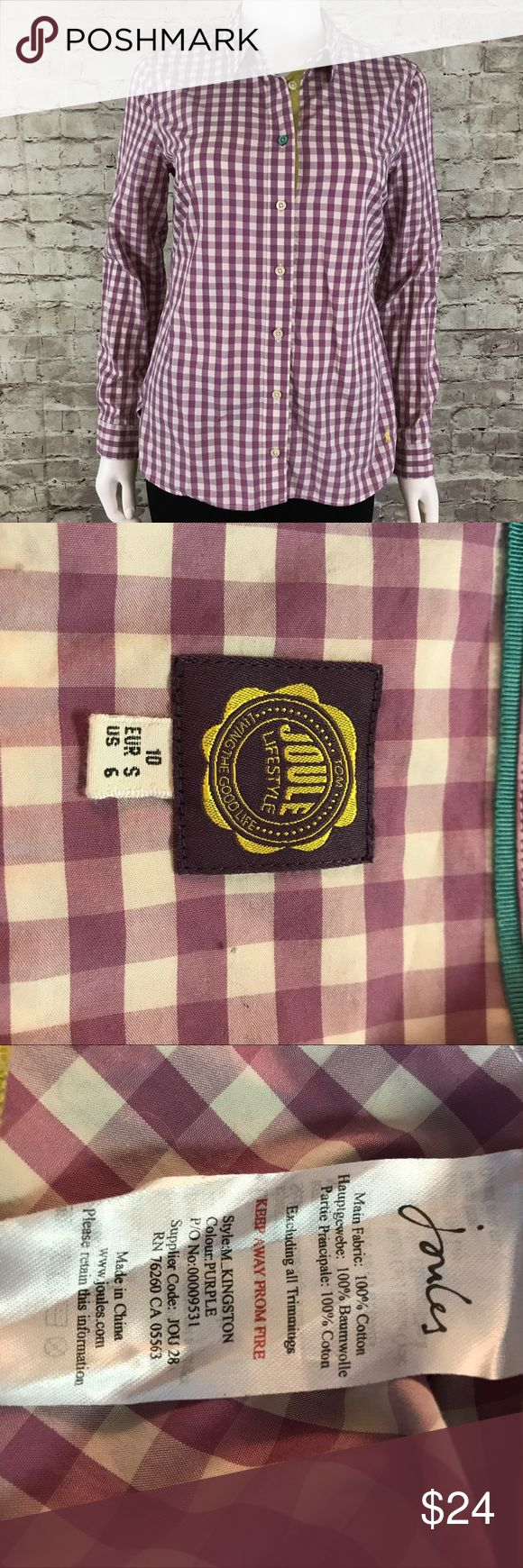 Joules Button Down Purple Check Shirt Too many fine details to list - please see all pictures for this very special top!  If you don't know the Joules brand - please look at how much detail is put into their work. Button down neckline. 100% Cotton. Green Trim and accents. Machine wash. Please see pictures for measurements.  Thanks for looking! Joules Tops