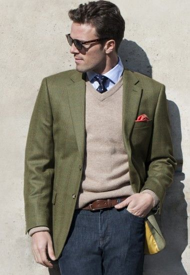 Men's Big & Tall Pure New Wool Tweed Jacket - Olive