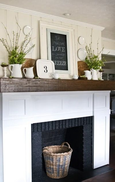 Mantel | Home | Design | Decor | Style | Fireplace...this looks very similar to our family room walls.  Like the chalkboard on the mantel
