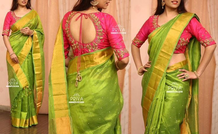 PV 3221  : Pink And Green Price        : 9000RsLook your best this festive season in this lovely number. Green handloom silk sari finished with gold zari and stone workUnstitched blouse piece - Pink zardosi work blouse piece as shown in the picture For Orders  please drop us an email to privacollective@gmail.com or call us at 9160560480/9989888510  19 March 2017