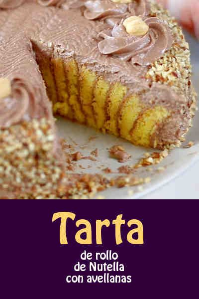 Tarta de rollo de Nutella con avellanas #nutella #tarta #receta