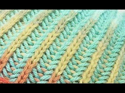 Двухцветная патентная резинка (резинка бриошь) по кругу - YouTube