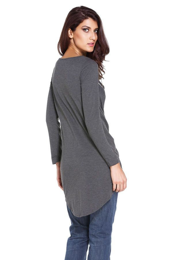 ae26f1b0ea75e Sexy Top Ladies V Neck Black Lace Up Long Sleeve Ruched Pullover T ...