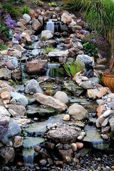 Vibrant Pondless Waterfall. Backyard ...