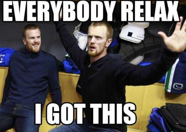 Vancouver Canucks meme of the day with Daniel Sedin. To bad the EA sports predictions of his return to the rescue werent accurate.