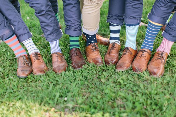 Groomsmen patterned socks - photo by When He Found Her http://ruffledblog.com/brooklands-farm-wedding/
