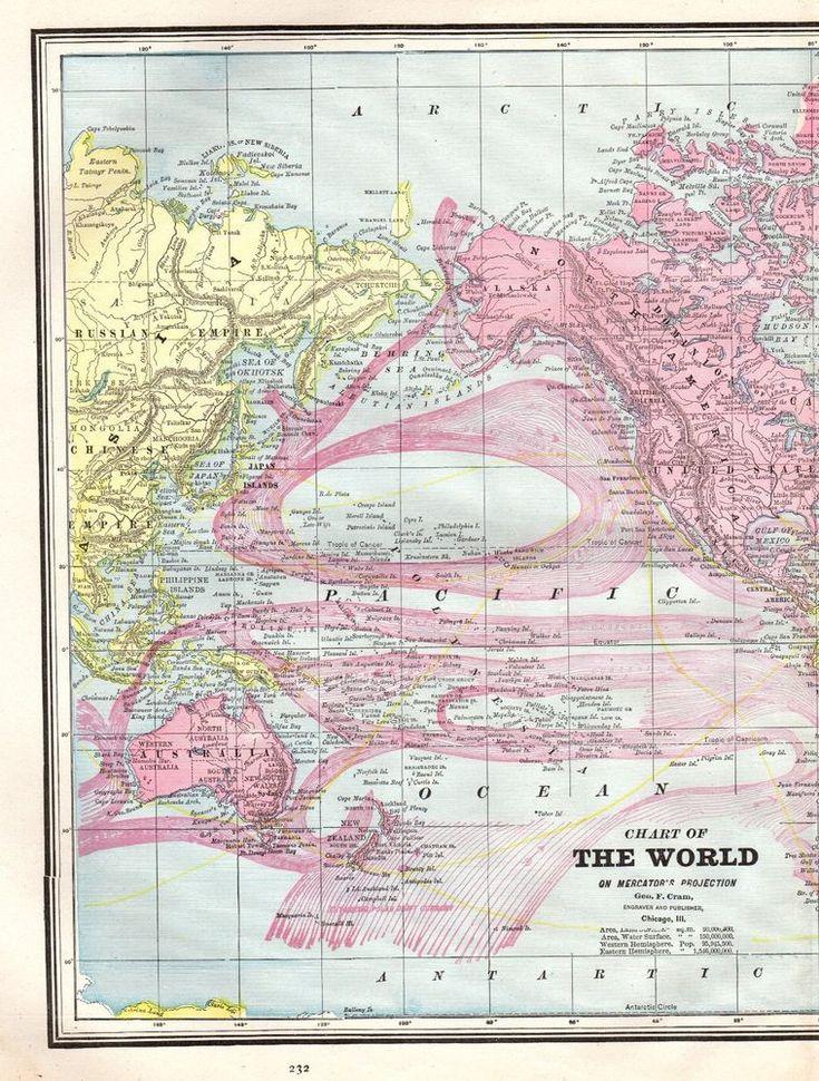 1890 Antique WORLD Map Vintage Map of