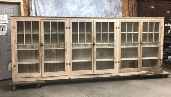 Long Antique Built In Cabinet Cupboard Bookcase Shelves ...