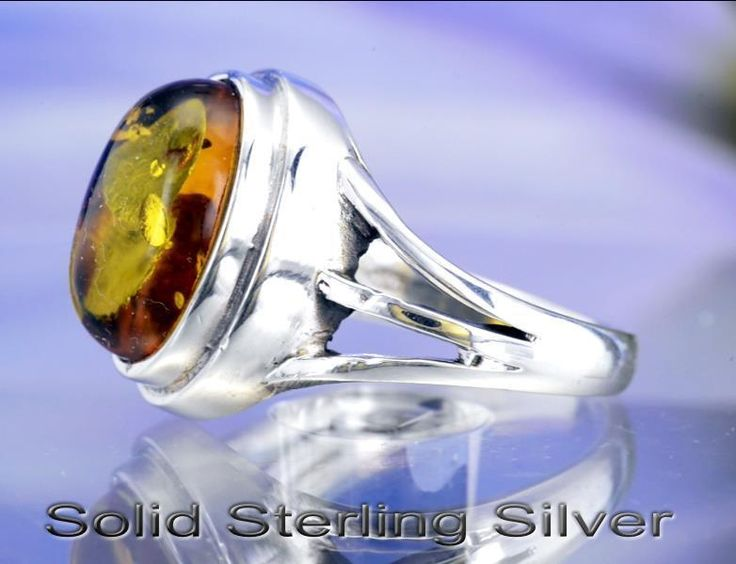 SIZE 9 Finely Made Sterling Silver Natural Baltic Amber Women Ring ST-201