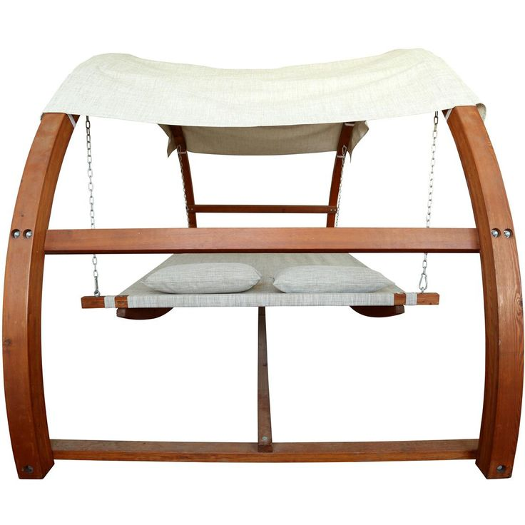 Leisure Season 10 1/2 Foot Wood Outdoor Swing Bed With Canopy - Side View