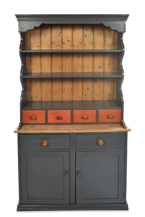 Antique pine, farmhouse style Welsh dresser. Painted with Earthborn Eco Chic Claypaint for furniture in dark charcoal grey Hidey-Hole. Drawers painted in terracotta Flower Pot