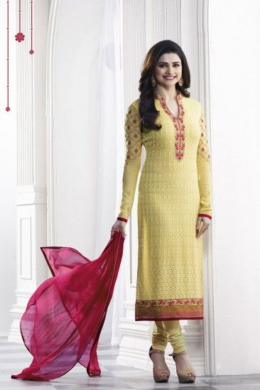 4158a919ea Prachi Desai Yellow Georgette Churidar Suit With Dupatta - DMV14727 ...