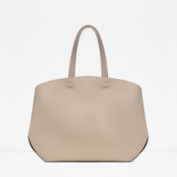 Zara Contrasting Shopper Tote Bag ($40) ❤ liked on Polyvore