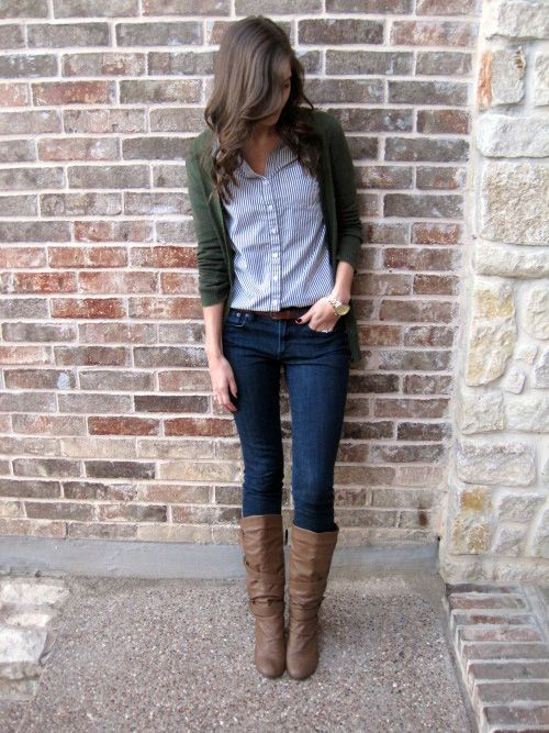 Olive cardigan, navy and white pinstriped button up, jeans, boots