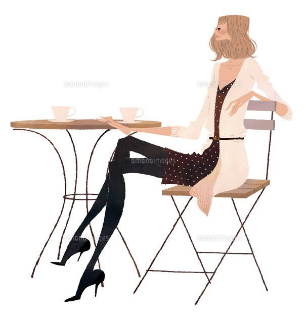 カフェでお茶をする女性 (c)Yuko Yoshioka