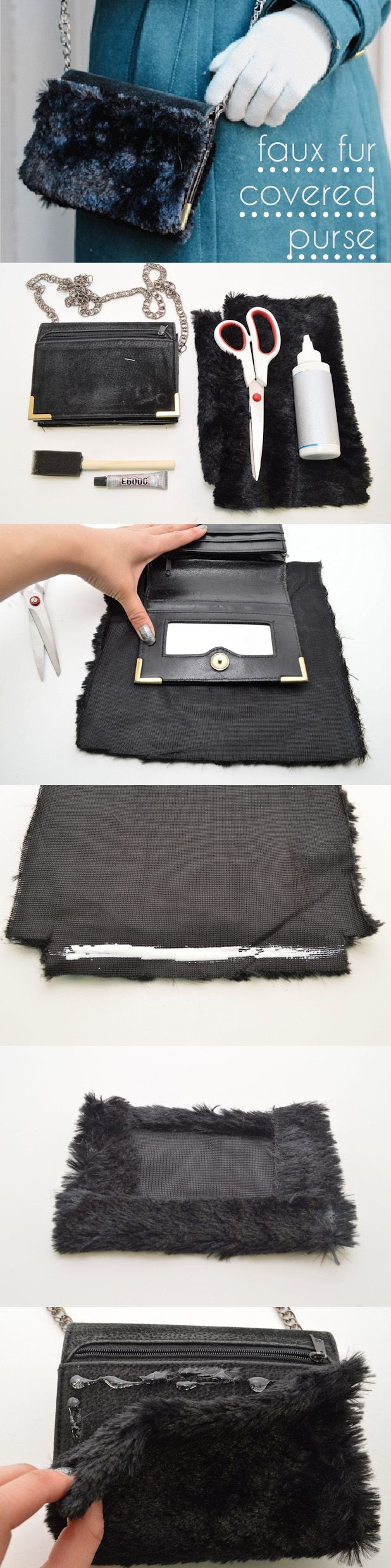 Chic DIY faux fur purse. Perfect for any winter going-out outfit! http://www.ehow.com/ehow-style/blog/diy-makeover-faux-fur-covered-purse/?utm_source=pinterest.com&utm_medium=referral&utm_content=inline&utm_campaign=fanpage