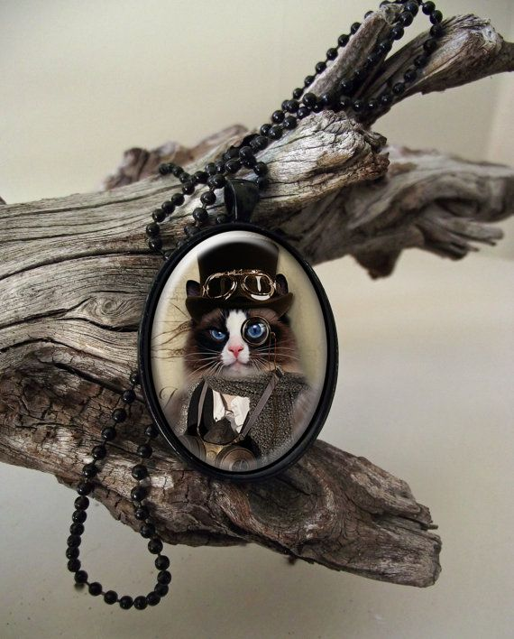 Aviator cat steampunk style glass cab pendant by ArtiFartiGifts