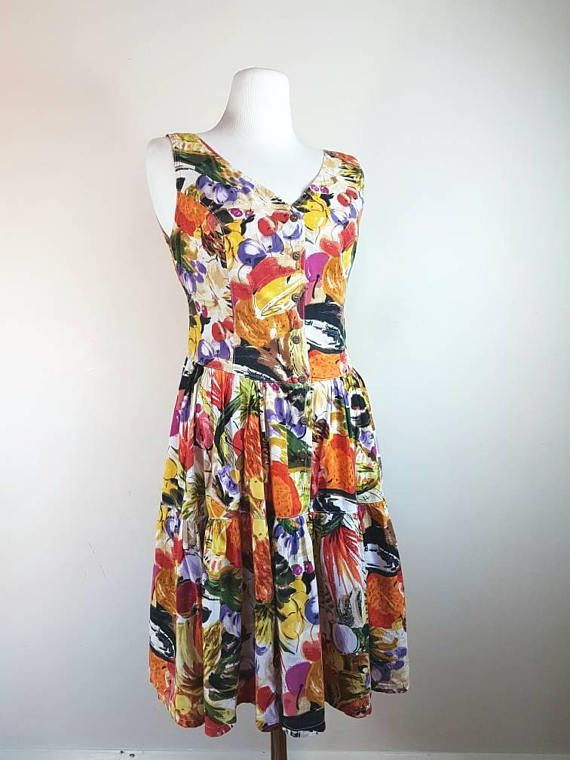 French Summer dress with fruits patterns / Nice fit and